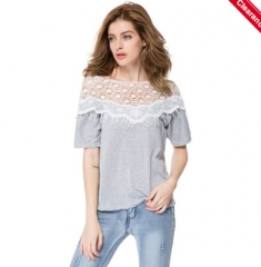 Lace Splicing 1/2 Sleeve Slash Neck Fringe Embellished Women's T-Shirt as the picture one szie
