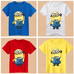 Summer Fashion Yellow Minions Baby Boy T-shirt long Sleeve white 90cm