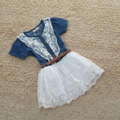 ZINC Girls Fashion Lace denim stitching dress as the picture 90cm