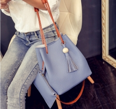 Fashion Tassels Single Strap Pure Color Shoulder Bag for Ladies blue 2 in1