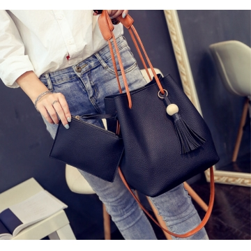 Fashion Tassels Single Strap Pure Color Shoulder Bag for Ladies black 2 in1