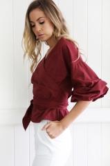 ZINC Fashion Sexy V collar cross straps shirts wine s