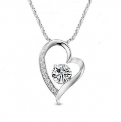 Jewelry New fashion women's crystal love heart pendant lady necklace Silver one size