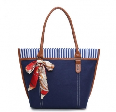The new leisure fashion scarves all-match bag shoulder stripe canvas bag blue one size