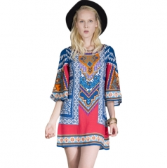 Summer style national fashion flower printed trumpet sleeve dress as the picture s