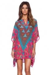 New V collar bohemian dress bat sleeve dress totem flower print big size loose skirt as the picture s