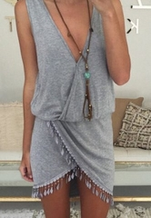 ZINC European sexy V collar irregular Tassle dress grey s