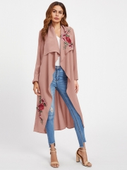 Rose embroidery temperament large lapel long-sleeved cardigan coat pink s
