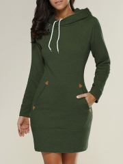 Hooded turtleneck long-sleeved sweater dress green s