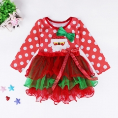 Girl dress Christmas dots bow red dress cake princess dress as the picture 90cm