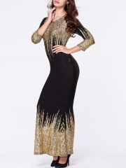 American reality show gold bubble cotton Slim long-sleeved dress as the picture m