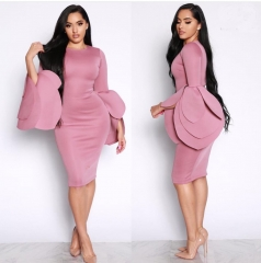 New multi-layered trumpet sleeve hip sexy dress purple s
