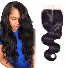 human hair closures brazilian virgin hair body wave 14inch middle part lace closure with baby hair