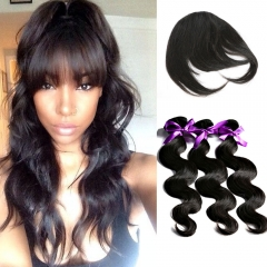 7a brazilian virgin hair body wave 3 bundles human hair weaves with a bangs make natural looks 1b 6 6 6 with bangs