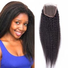 brazilian hair lace closure free part light yaki kinky straight brazilian virgin human hair closure 1b 8inch