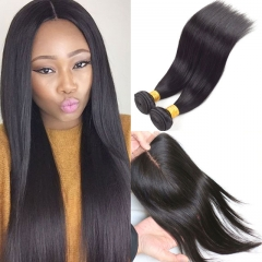 peruvian virgin hair straight 2pieces hair weave with a lace closure raw unprocessed 100% human hair 1b 8 8 with 8