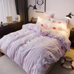 New 4 pcs Duvet Cover Stylish Pink And White Bedding Comforter Sets Pink 5*6