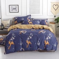 Polyester 4pcs Duvet Cover Sheet Bed Linen Bedclothes Pillowcase Gentleman Happy Fawn 6*6