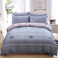New style 100% pure cotton bedding sets come with duvet cover flat sheet and pillow cases Grid 5*6