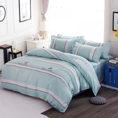 Love Home New 4 pcs modern stylish grey and white bedding comforter sets Stripe 5*6