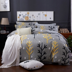New style 100% pure cotton bedding sets come with duvet cover flat sheet and pillow cases Stripe 5*6