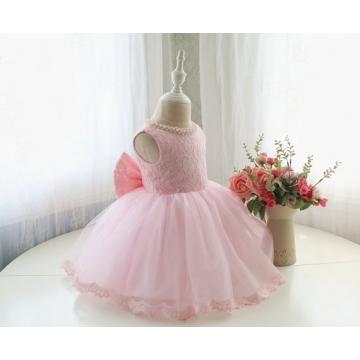 Fashion Beautiful Princess Dress Cute Sleeveless Printing Flower Girl Dress Round Neck Pink 100