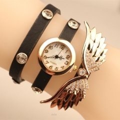 New Rhinestone Women Watch Casual Fashion Wing Bracelet Quartz Analog Lady Watch black