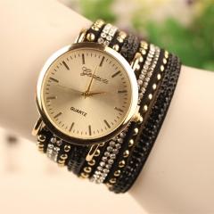New Rhinestone Lady Watch Dress Fashion Casual Bracelet Quartz Analog Girl Watch black