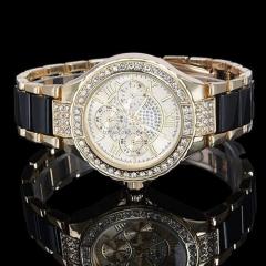 Fashion Watch Lady Watch Fashion Quartz Analog Rhinestone Watch black