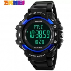 Health Sport Pedometer Heart Rate Fitness Tracker LED Digital Watch Outdoor Sports Watches Men Watch blue