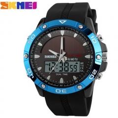 Solar Power Energy Sport Watch Men Dual Time Zone Waterproof Digital Quartz Solar Watches blue