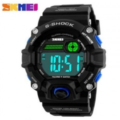 Men Watches Outdoor Sports Digital Watch Multifunction Talking Watch Music Alarm Clock LED Watch blue
