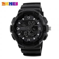 Men Sports Watches Waterproof Military Quartz Digital Watch Multifunction Alarm fashion LED Watch black