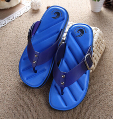 Hot Sale Brand Men Casual Flat Sandals,Leisure Flip Flops,EVA Massage Beach Slipper Shoes 40-45 blue 42