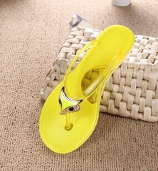Plus Size Sandals Women Rubber Crystal slippersSlippers Flip Flops Size 36-40 Shoes yellow 36