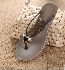 Plus Size Sandals Women Rubber Crystal slippersSlippers Flip Flops Size 36-40 Shoes gray 37