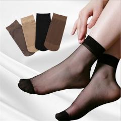 5 Pcs Summer bamboo female Short Socks Women's Thin Crystal Socks Transparent Thin Silk Socks black one size