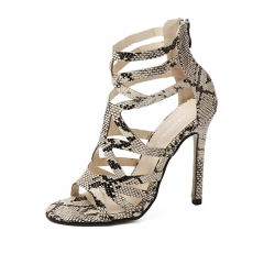 Womens Gladiator Sandals 2016 Sexy Snakeskin Cut-outs High Heel Picture color 5.5