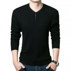 Simple Design Long Sleeve Round Neck Male Pullover Sweater black m