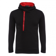 Casual Color Block Zipper Design Male Pullover Hoodie RED BLACK XL