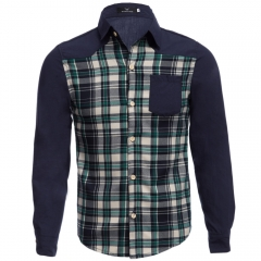 Casual Patchwork Grid Decoration Male Long Sleeve Shirt blue and green m