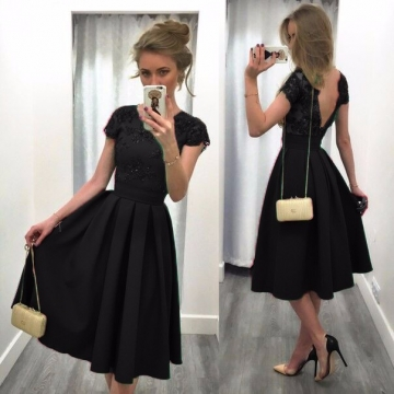 Fashion dress Backless Short Sleeve o-neck dress for women summer clothing Lace pleated Black M
