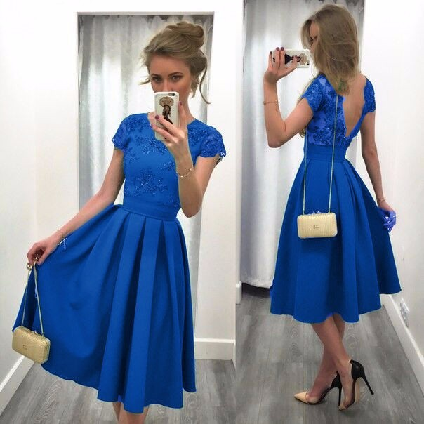 Fashion dress Backless Short Sleeve o-neck dress for women summer clothing Lace pleated Blue M