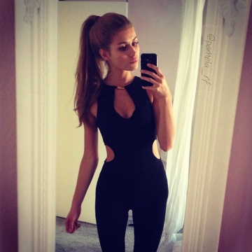 New Style Woman Sexy Sleeveless V-neck Hollow Out Design Backless Woman Zipper Jumpsuit BLACK M