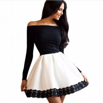 Long Sleeved Lace Patchwork Fashion Women Dress Sexy Off Shoulder Strapless Slash Neck Party Dresses Black and White m