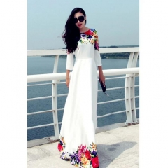 Women Flower Print Half Sleeve A-Line High Waist Long Maxi Dress white s