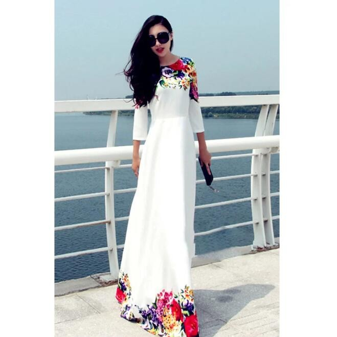 Women Flower Print Half Sleeve A-Line High Waist Long Maxi Dress white l