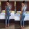 high neck cut out bandage bodysuits sexy Long Sleeve hollow out shoulder Ladies Jumpsuits blue l