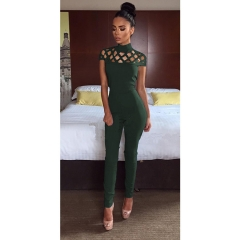 high neck cut out bandage bodysuits sexy Long Sleeve hollow out shoulder Ladies Jumpsuits army green m
