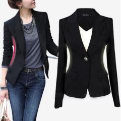 Autumn Outwear Women Slim Casual OL Short Suit Coat Jacket back s